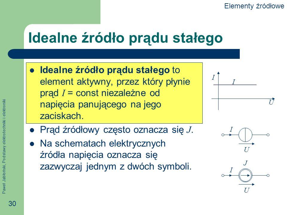 Paweł Jabłoński, Podstawy elektrotechniki i elektroniki 30 Idealne źródło prądu stałego Idealne źródło prądu stałego to element aktywny, przez który p