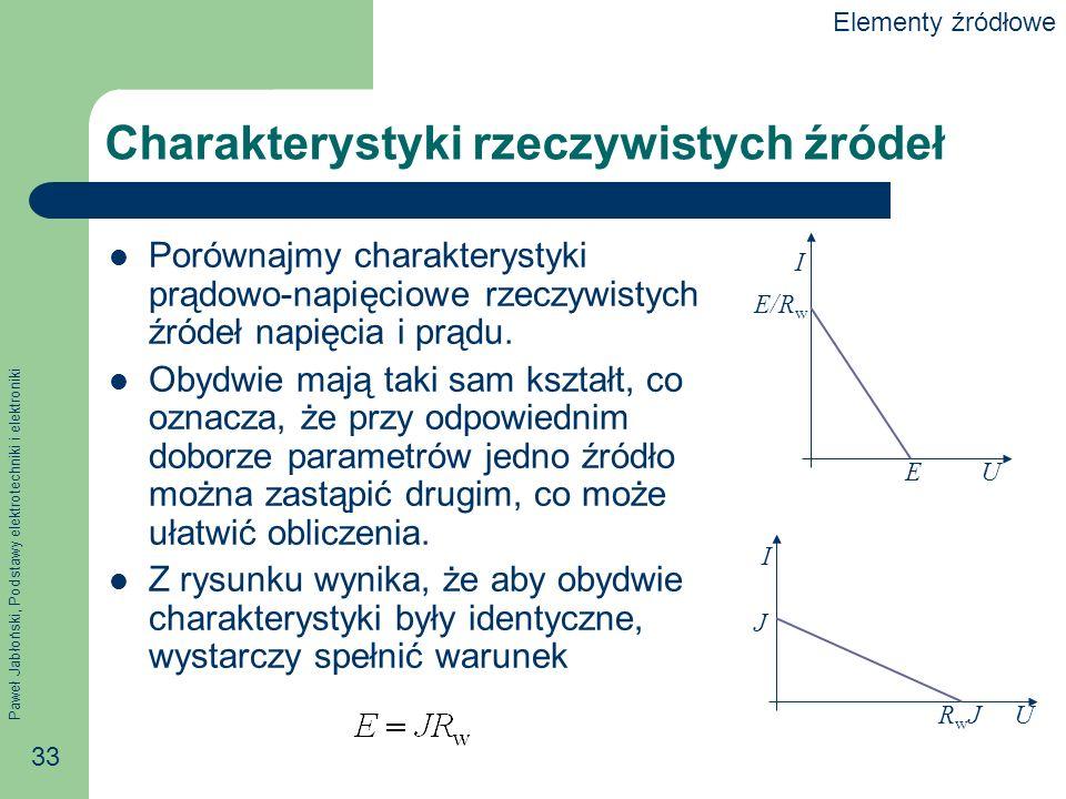 Paweł Jabłoński, Podstawy elektrotechniki i elektroniki 33 Charakterystyki rzeczywistych źródeł Porównajmy charakterystyki prądowo-napięciowe rzeczywi
