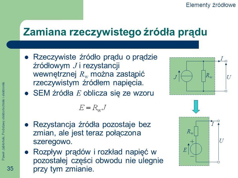 Paweł Jabłoński, Podstawy elektrotechniki i elektroniki 35 Zamiana rzeczywistego źródła prądu Rzeczywiste źródło prądu o prądzie źródłowym J i rezysta