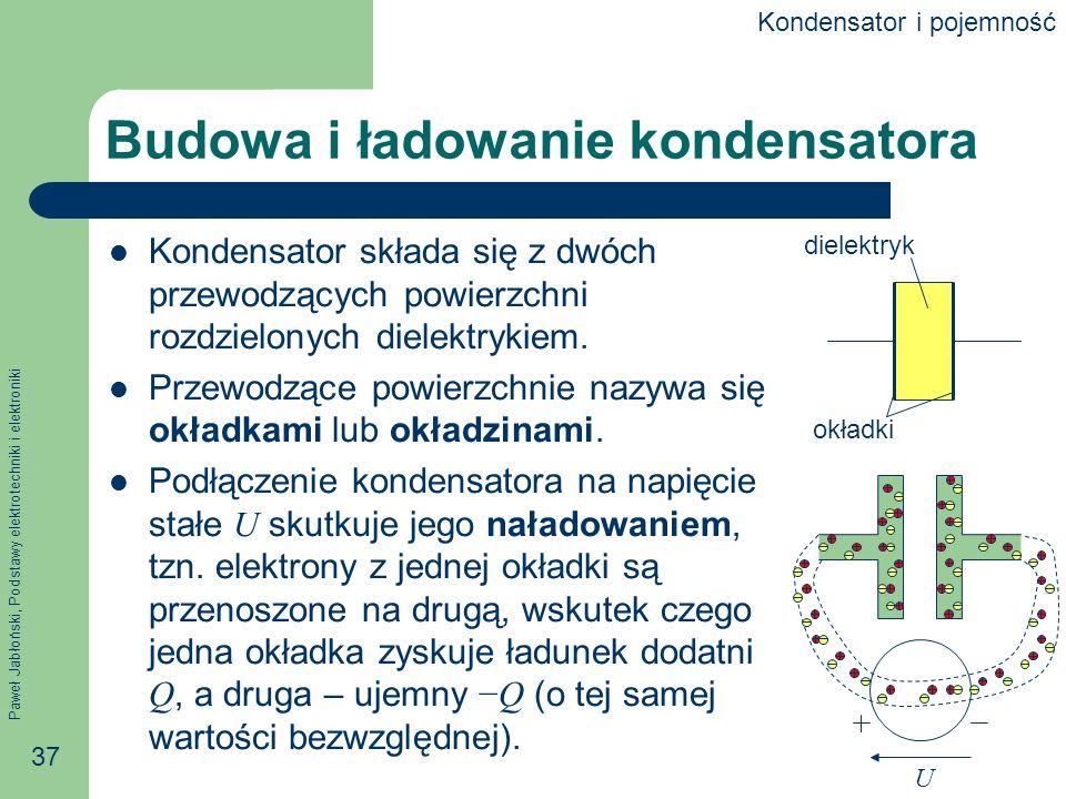 Paweł Jabłoński, Podstawy elektrotechniki i elektroniki 37 Budowa i ładowanie kondensatora Kondensator składa się z dwóch przewodzących powierzchni ro