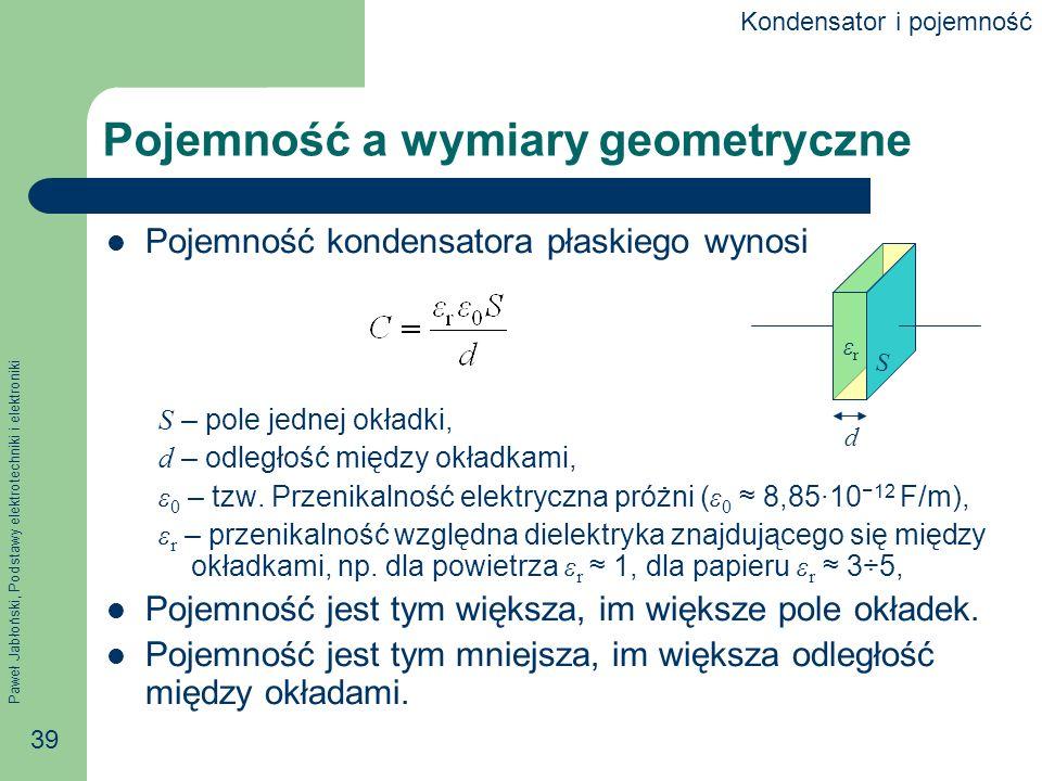 Paweł Jabłoński, Podstawy elektrotechniki i elektroniki 39 Pojemność a wymiary geometryczne Pojemność kondensatora płaskiego wynosi S – pole jednej ok