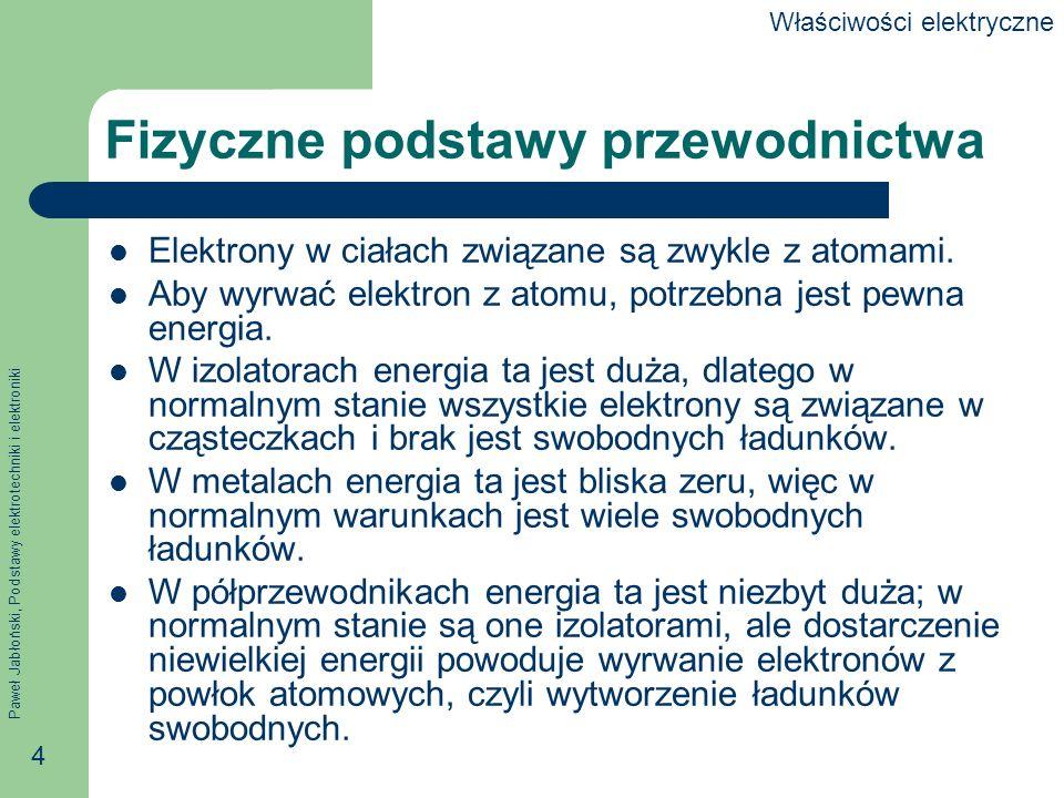 Paweł Jabłoński, Podstawy elektrotechniki i elektroniki 4 Fizyczne podstawy przewodnictwa Elektrony w ciałach związane są zwykle z atomami. Aby wyrwać