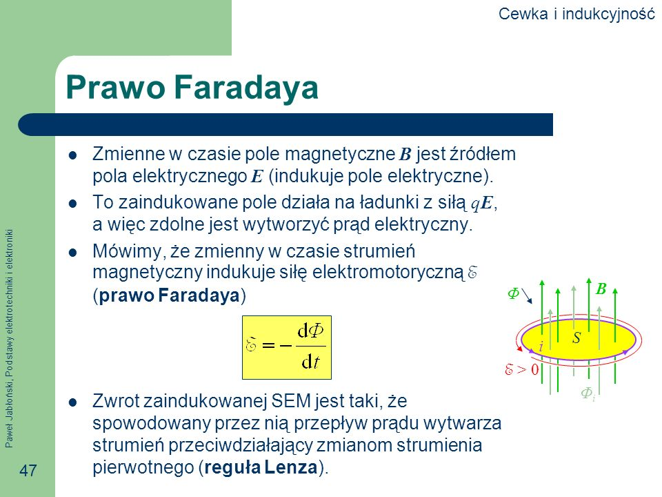 Paweł Jabłoński, Podstawy elektrotechniki i elektroniki 47 Prawo Faradaya Zmienne w czasie pole magnetyczne B jest źródłem pola elektrycznego E (induk