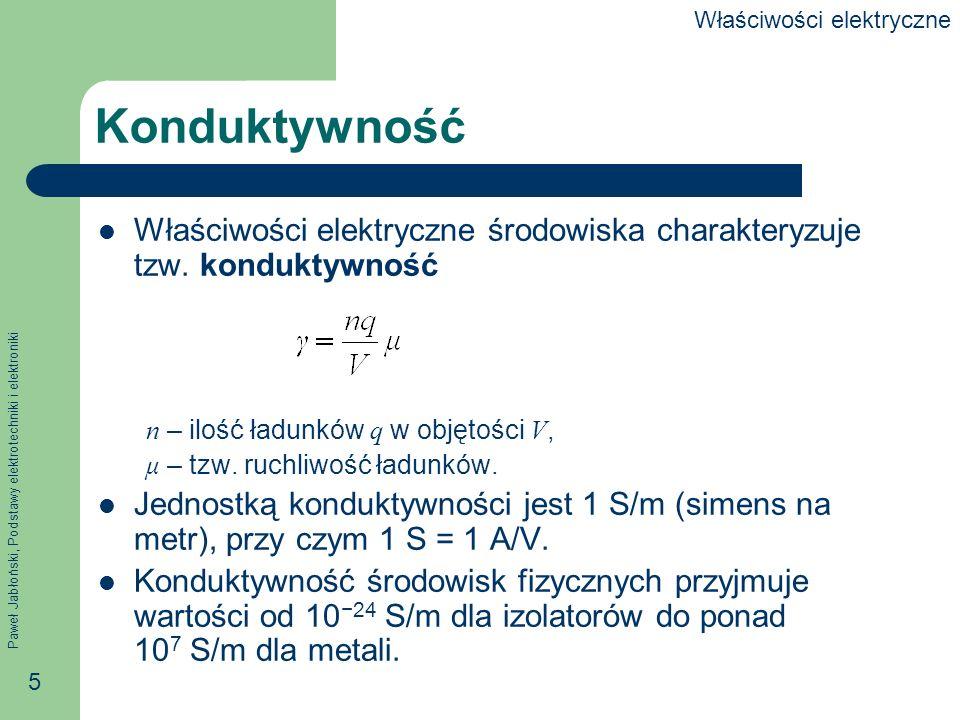 Paweł Jabłoński, Podstawy elektrotechniki i elektroniki 5 Konduktywność Właściwości elektryczne środowiska charakteryzuje tzw. konduktywność n – ilość