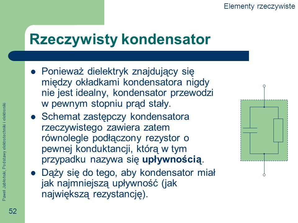 Paweł Jabłoński, Podstawy elektrotechniki i elektroniki 52 Rzeczywisty kondensator Ponieważ dielektryk znajdujący się między okładkami kondensatora ni