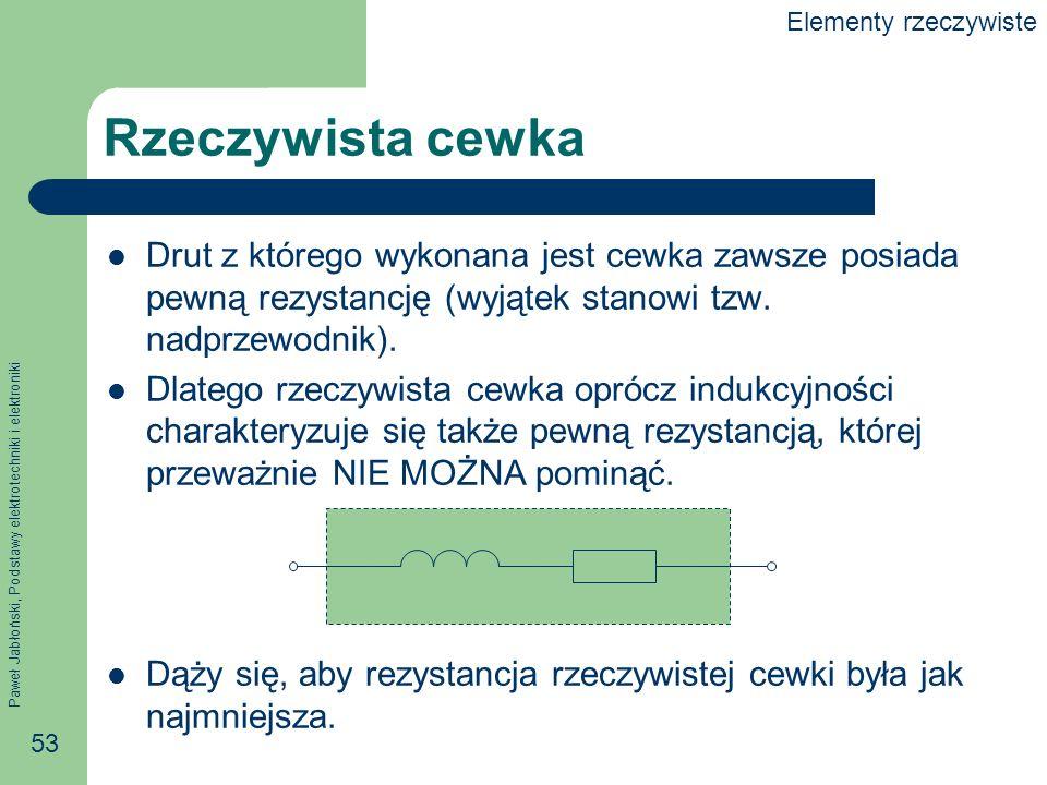 Paweł Jabłoński, Podstawy elektrotechniki i elektroniki 53 Rzeczywista cewka Drut z którego wykonana jest cewka zawsze posiada pewną rezystancję (wyją