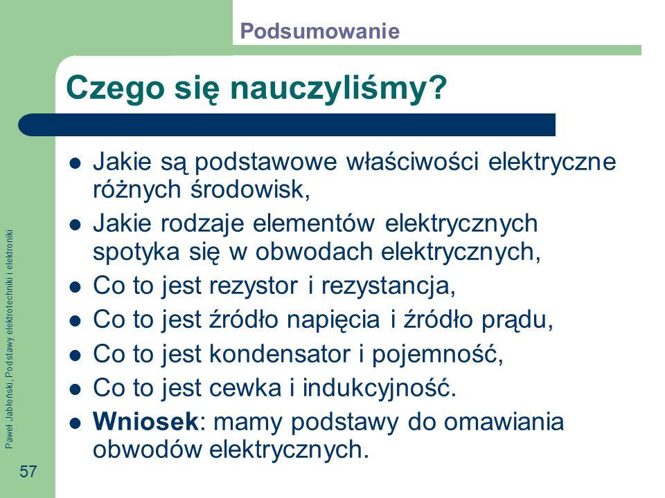 Paweł Jabłoński, Podstawy elektrotechniki i elektroniki 57 Czego się nauczyliśmy? Jakie są podstawowe właściwości elektryczne różnych środowisk, Jakie