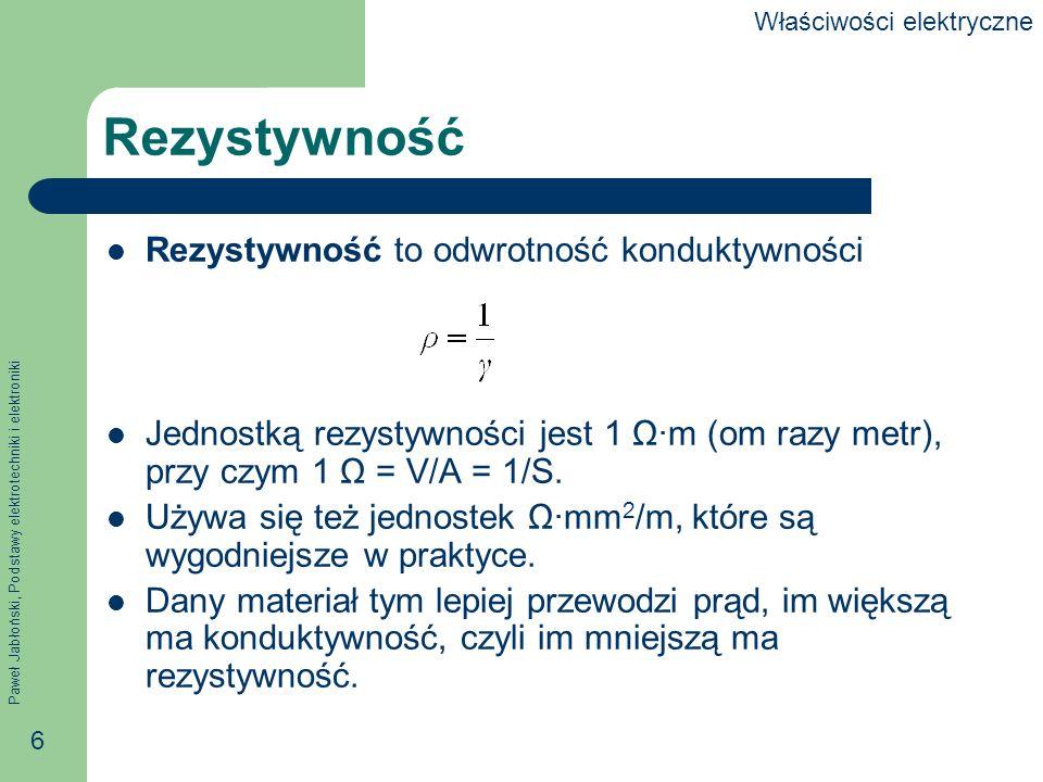Paweł Jabłoński, Podstawy elektrotechniki i elektroniki 6 Rezystywność Rezystywność to odwrotność konduktywności Jednostką rezystywności jest 1 Ωm (om