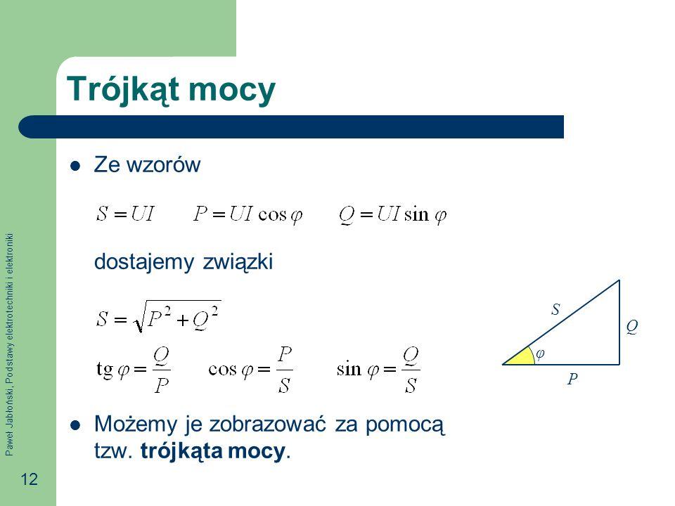 Paweł Jabłoński, Podstawy elektrotechniki i elektroniki 12 Trójkąt mocy Ze wzorów dostajemy związki Możemy je zobrazować za pomocą tzw. trójkąta mocy.