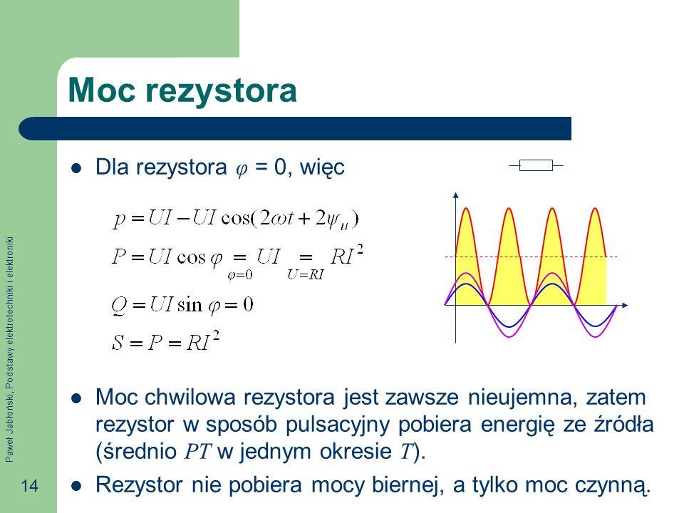 Paweł Jabłoński, Podstawy elektrotechniki i elektroniki 14 Moc rezystora Dla rezystora φ = 0, więc Moc chwilowa rezystora jest zawsze nieujemna, zatem rezystor w sposób pulsacyjny pobiera energię ze źródła (średnio PT w jednym okresie T ).