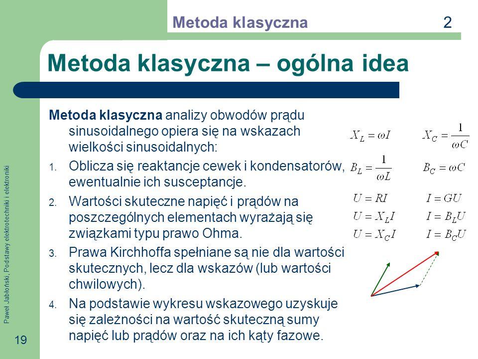 Paweł Jabłoński, Podstawy elektrotechniki i elektroniki 19 Metoda klasyczna – ogólna idea Metoda klasyczna analizy obwodów prądu sinusoidalnego opiera