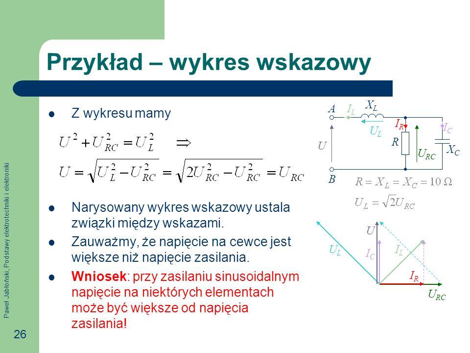 Paweł Jabłoński, Podstawy elektrotechniki i elektroniki 26 Przykład – wykres wskazowy Z wykresu mamy Narysowany wykres wskazowy ustala związki między wskazami.