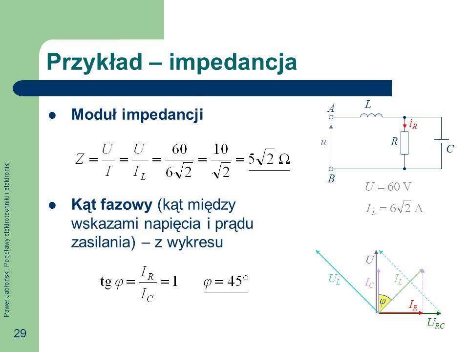 Paweł Jabłoński, Podstawy elektrotechniki i elektroniki 29 Przykład – impedancja Moduł impedancji Kąt fazowy (kąt między wskazami napięcia i prądu zas