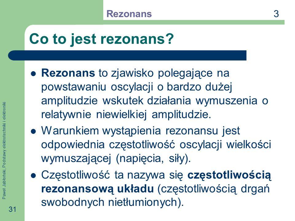 Paweł Jabłoński, Podstawy elektrotechniki i elektroniki 31 Co to jest rezonans? Rezonans to zjawisko polegające na powstawaniu oscylacji o bardzo duże
