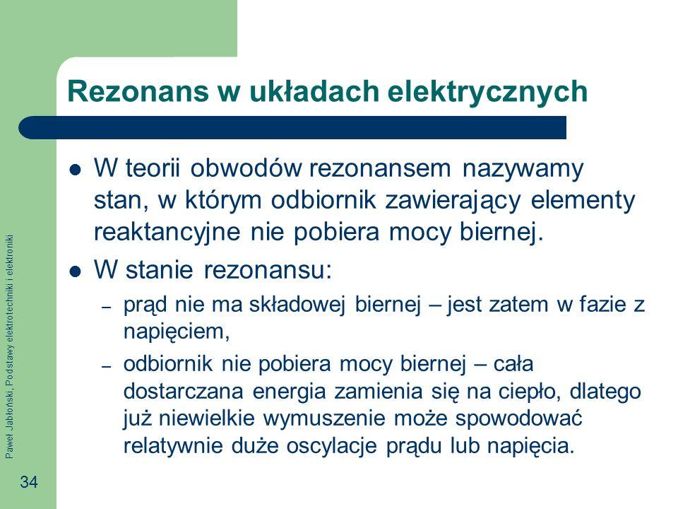 Paweł Jabłoński, Podstawy elektrotechniki i elektroniki 34 Rezonans w układach elektrycznych W teorii obwodów rezonansem nazywamy stan, w którym odbio