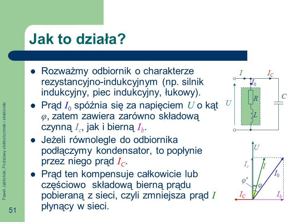 Paweł Jabłoński, Podstawy elektrotechniki i elektroniki 51 φ Jak to działa? Rozważmy odbiornik o charakterze rezystancyjno-indukcyjnym (np. silnik ind