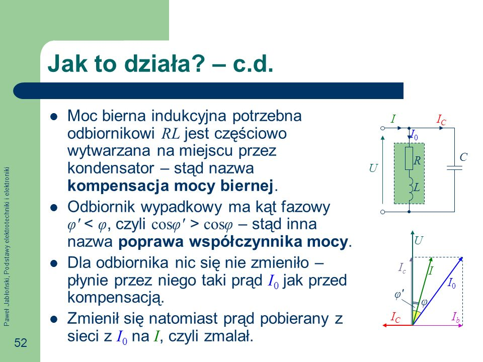 Paweł Jabłoński, Podstawy elektrotechniki i elektroniki 52 Jak to działa? – c.d. Moc bierna indukcyjna potrzebna odbiornikowi RL jest częściowo wytwar