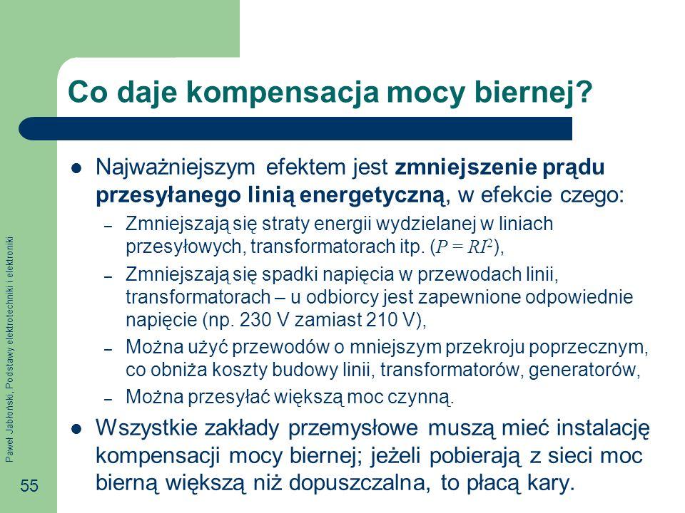 Paweł Jabłoński, Podstawy elektrotechniki i elektroniki 55 Co daje kompensacja mocy biernej? Najważniejszym efektem jest zmniejszenie prądu przesyłane