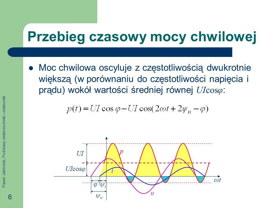 Paweł Jabłoński, Podstawy elektrotechniki i elektroniki 37 Stan rezonansu napięć W stanie rezonansu napięć: Reaktancja pojemnościowa X C i indukcyjna X L są sobie równe: X L = X C, Moduł impedancji Z = R, a więc prąd osiąga maksymalną wartość równą U / R, Kąt fazowy φ = 0, a więc prąd jest w fazie z napięciem zasilania, Napięcie zasilania U odkłada się na rezystorze: U R = U, Wartości skuteczne napięcia na cewce i kondensatorze są sobie równe U L = U C, Wartości chwilowe napięcia na cewce kondensatorze znoszą się ( u L + u C = 0).