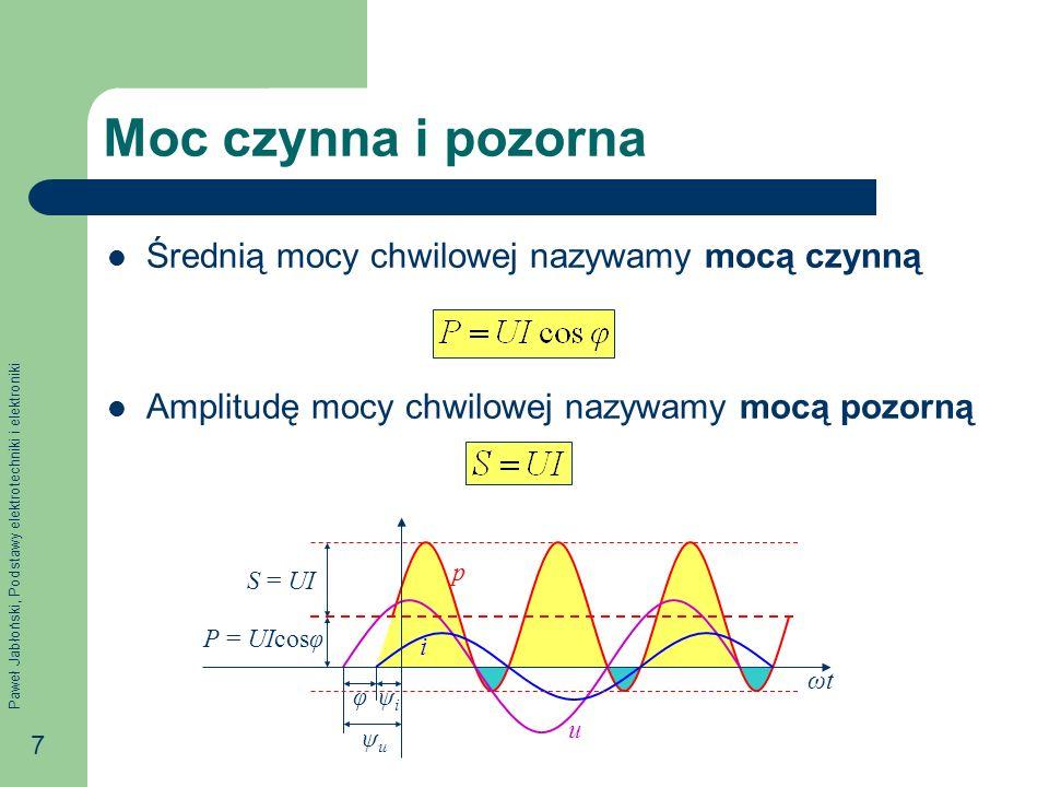 Paweł Jabłoński, Podstawy elektrotechniki i elektroniki 7 Moc czynna i pozorna Średnią mocy chwilowej nazywamy mocą czynną Amplitudę mocy chwilowej nazywamy mocą pozorną φψiψi ψuψu P = UIcosφ S = UI p u i ωtωt