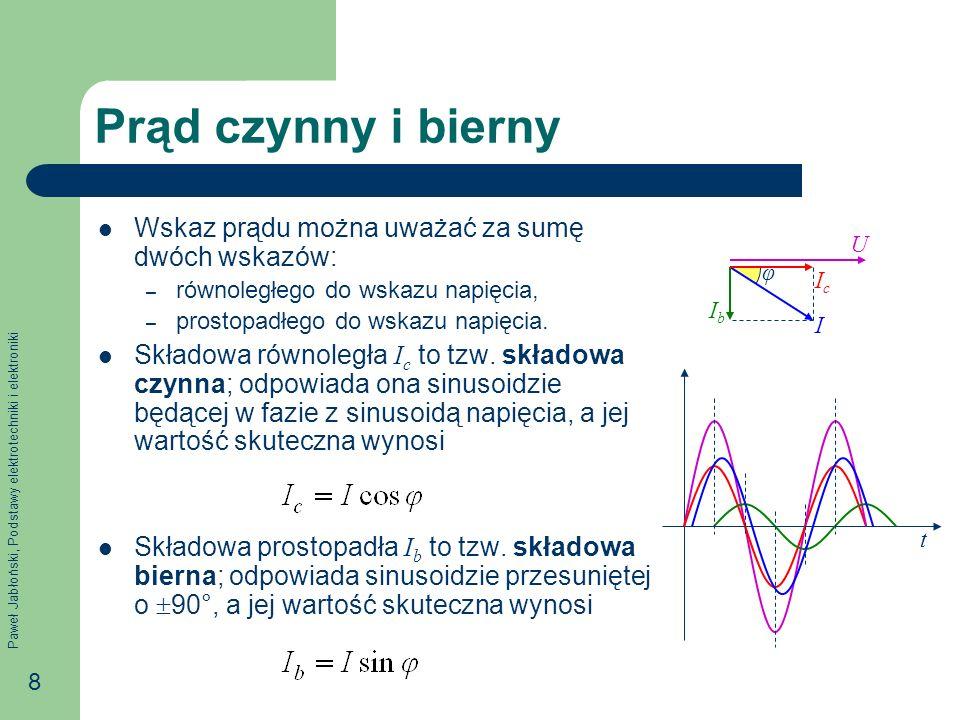 Paweł Jabłoński, Podstawy elektrotechniki i elektroniki 8 Prąd czynny i bierny Wskaz prądu można uważać za sumę dwóch wskazów: – równoległego do wskaz