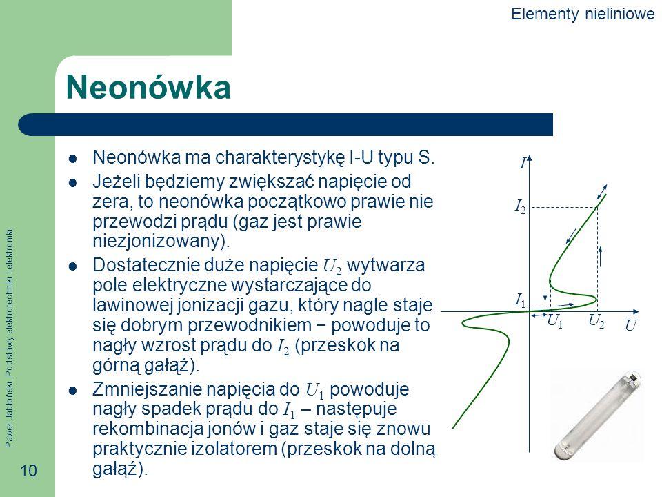 Paweł Jabłoński, Podstawy elektrotechniki i elektroniki 10 Neonówka Neonówka ma charakterystykę I-U typu S. Jeżeli będziemy zwiększać napięcie od zera