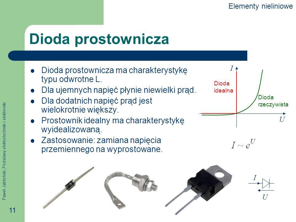 Paweł Jabłoński, Podstawy elektrotechniki i elektroniki 11 Dioda prostownicza Dioda prostownicza ma charakterystykę typu odwrotne L. Dla ujemnych napi