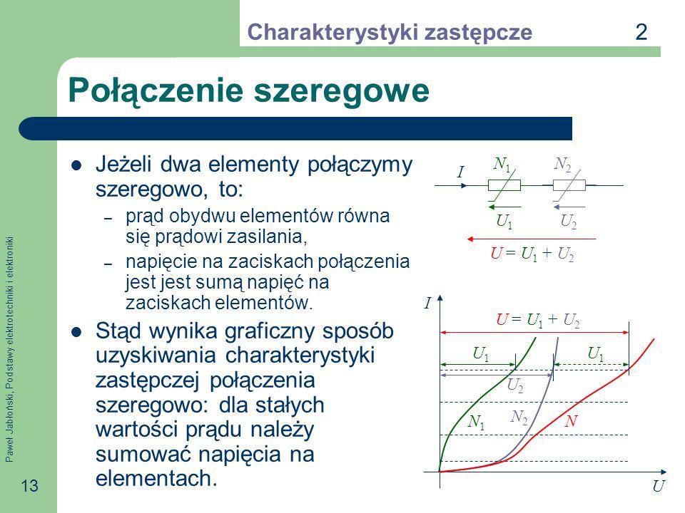 Paweł Jabłoński, Podstawy elektrotechniki i elektroniki 13 Połączenie szeregowe Jeżeli dwa elementy połączymy szeregowo, to: – prąd obydwu elementów r
