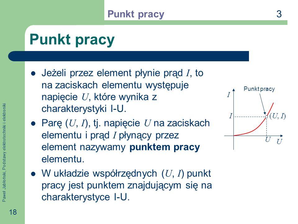 Paweł Jabłoński, Podstawy elektrotechniki i elektroniki 18 Punkt pracy Jeżeli przez element płynie prąd I, to na zaciskach elementu występuje napięcie