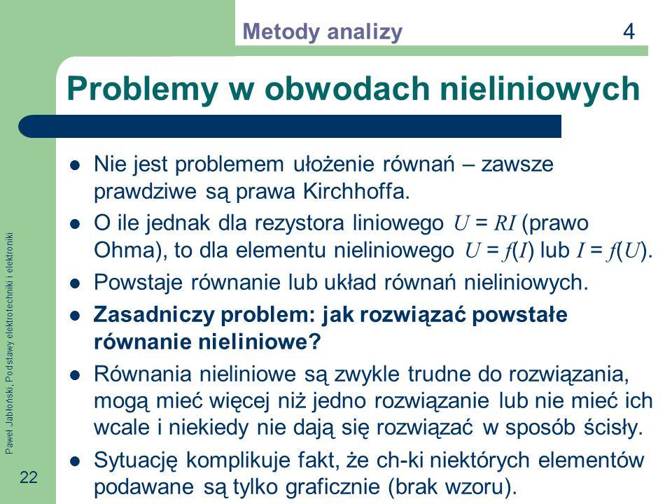 Paweł Jabłoński, Podstawy elektrotechniki i elektroniki 22 Problemy w obwodach nieliniowych Nie jest problemem ułożenie równań – zawsze prawdziwe są p