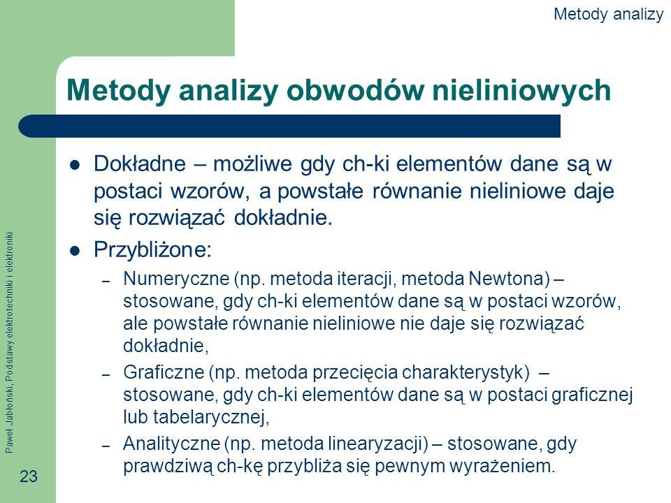Paweł Jabłoński, Podstawy elektrotechniki i elektroniki 23 Metody analizy obwodów nieliniowych Dokładne – możliwe gdy ch-ki elementów dane są w postac