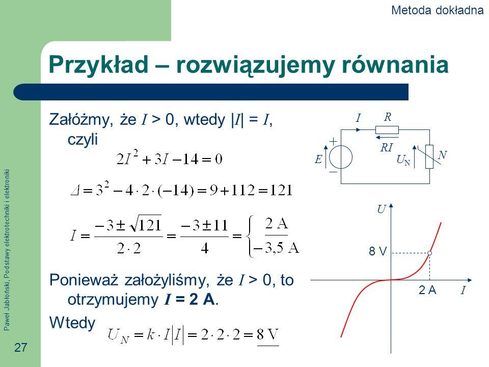 Paweł Jabłoński, Podstawy elektrotechniki i elektroniki 27 Przykład – rozwiązujemy równania Załóżmy, że I > 0, wtedy | I | = I, czyli Ponieważ założyl