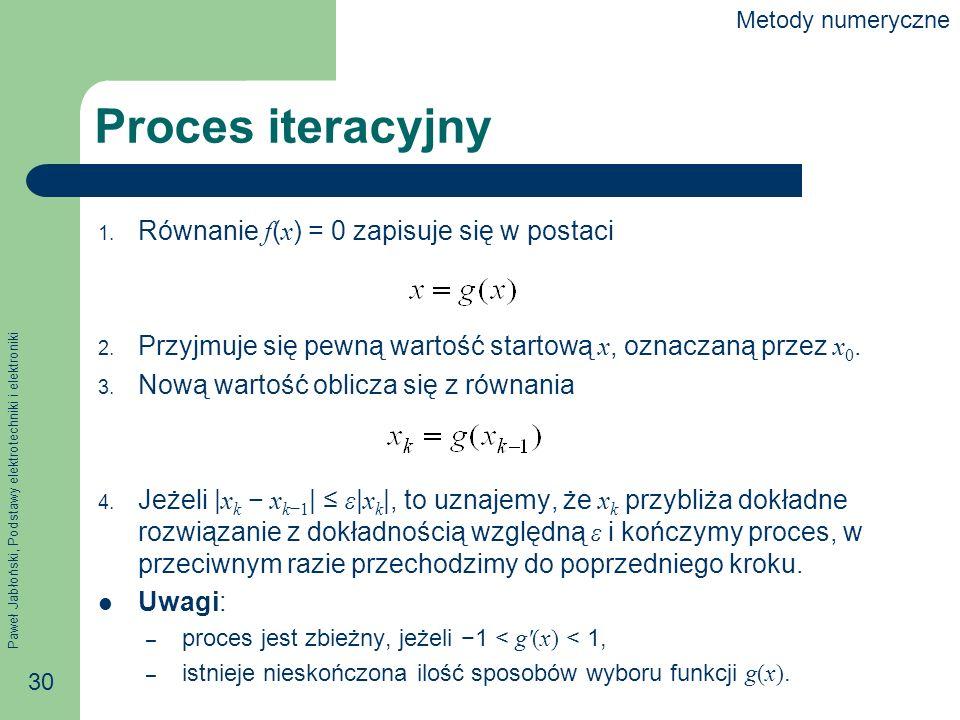 Paweł Jabłoński, Podstawy elektrotechniki i elektroniki 30 Proces iteracyjny 1. Równanie f ( x ) = 0 zapisuje się w postaci 2. Przyjmuje się pewną war