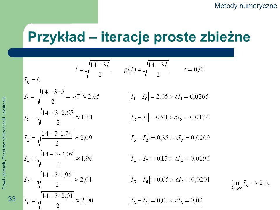 Paweł Jabłoński, Podstawy elektrotechniki i elektroniki 33 Przykład – iteracje proste zbieżne Metody numeryczne