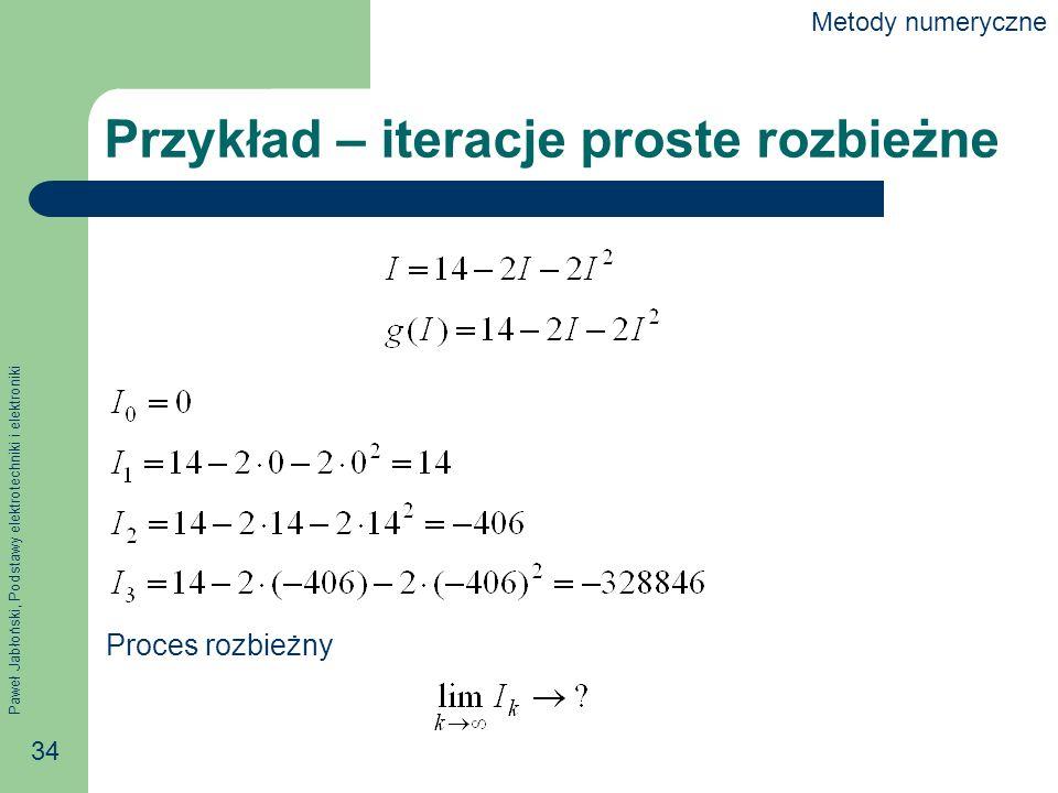 Paweł Jabłoński, Podstawy elektrotechniki i elektroniki 34 Przykład – iteracje proste rozbieżne Proces rozbieżny Metody numeryczne