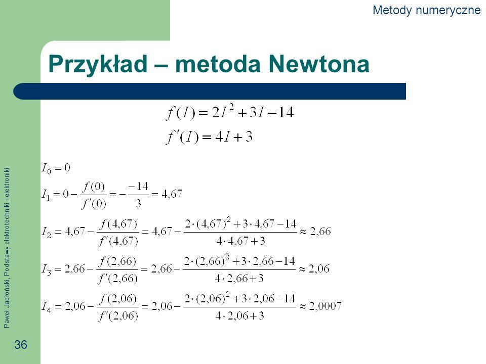 Paweł Jabłoński, Podstawy elektrotechniki i elektroniki 36 Przykład – metoda Newtona Metody numeryczne