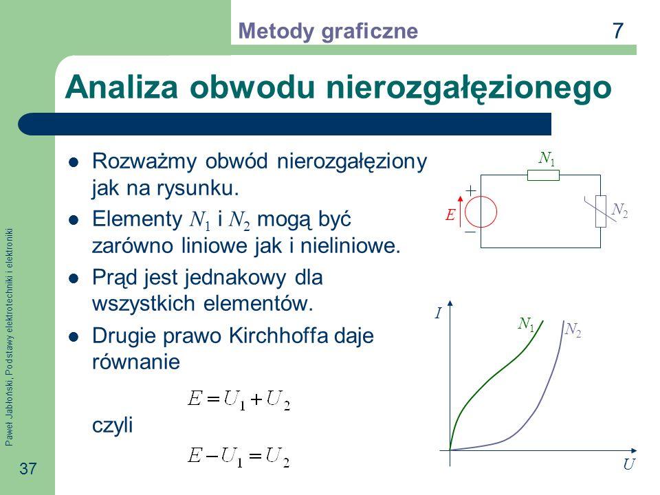 Paweł Jabłoński, Podstawy elektrotechniki i elektroniki 37 Analiza obwodu nierozgałęzionego Rozważmy obwód nierozgałęziony jak na rysunku. Elementy N