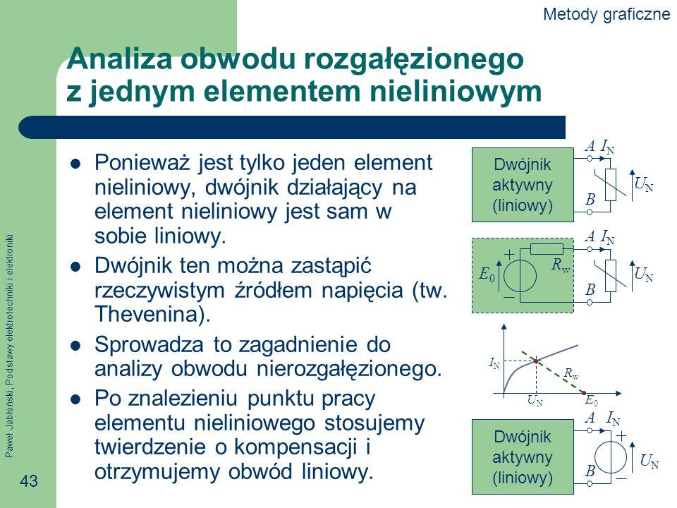 Paweł Jabłoński, Podstawy elektrotechniki i elektroniki 43 Analiza obwodu rozgałęzionego z jednym elementem nieliniowym Ponieważ jest tylko jeden elem