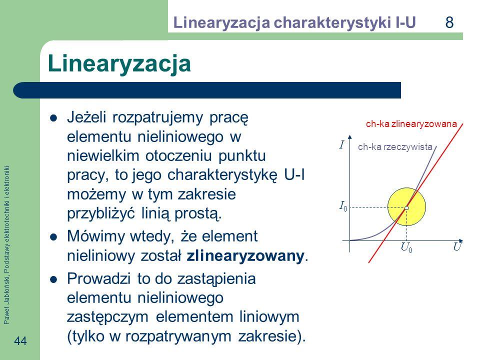 Paweł Jabłoński, Podstawy elektrotechniki i elektroniki 44 Linearyzacja Jeżeli rozpatrujemy pracę elementu nieliniowego w niewielkim otoczeniu punktu