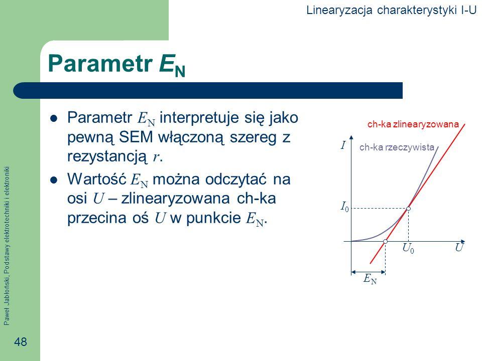 Paweł Jabłoński, Podstawy elektrotechniki i elektroniki 48 Parametr E N Parametr E N interpretuje się jako pewną SEM włączoną szereg z rezystancją r.