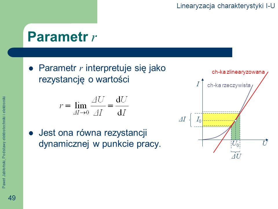 Paweł Jabłoński, Podstawy elektrotechniki i elektroniki 49 ΔUΔU ΔIΔI Parametr r Parametr r interpretuje się jako rezystancję o wartości Jest ona równa