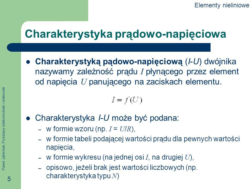 Paweł Jabłoński, Podstawy elektrotechniki i elektroniki 5 Charakterystyka prądowo-napięciowa Charakterystyką pądowo-napięciową (I-U) dwójnika nazywamy