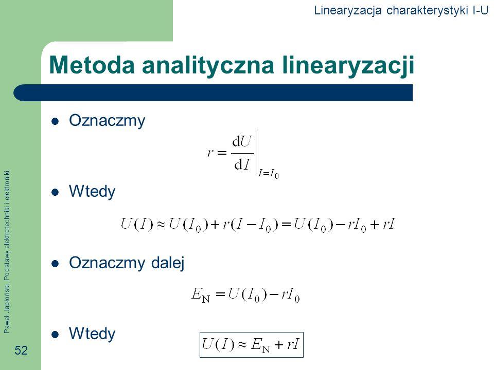 Paweł Jabłoński, Podstawy elektrotechniki i elektroniki 52 Metoda analityczna linearyzacji Oznaczmy Wtedy Oznaczmy dalej Wtedy Linearyzacja charaktery