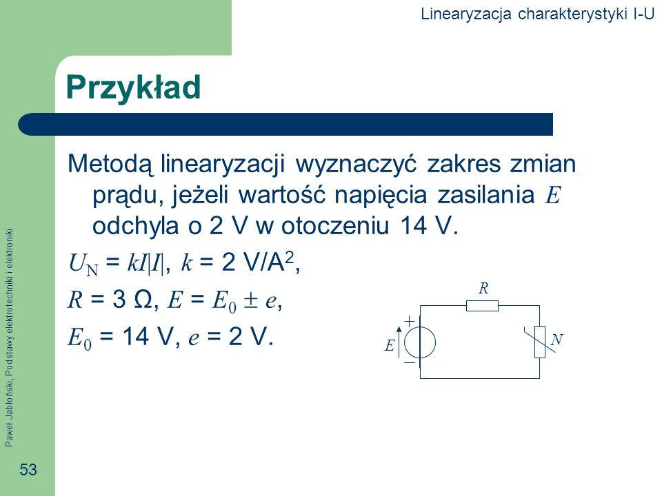 Paweł Jabłoński, Podstawy elektrotechniki i elektroniki 53 Przykład Metodą linearyzacji wyznaczyć zakres zmian prądu, jeżeli wartość napięcia zasilani