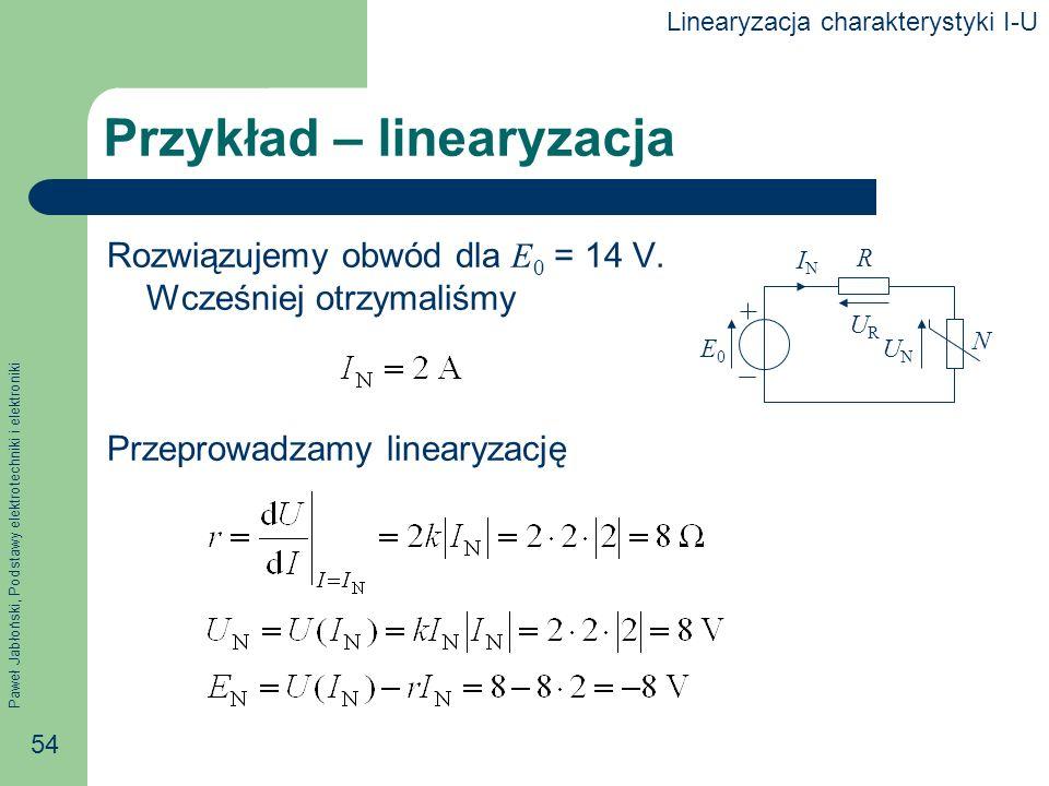 Paweł Jabłoński, Podstawy elektrotechniki i elektroniki 54 Przykład – linearyzacja Rozwiązujemy obwód dla E 0 = 14 V. Wcześniej otrzymaliśmy Przeprowa