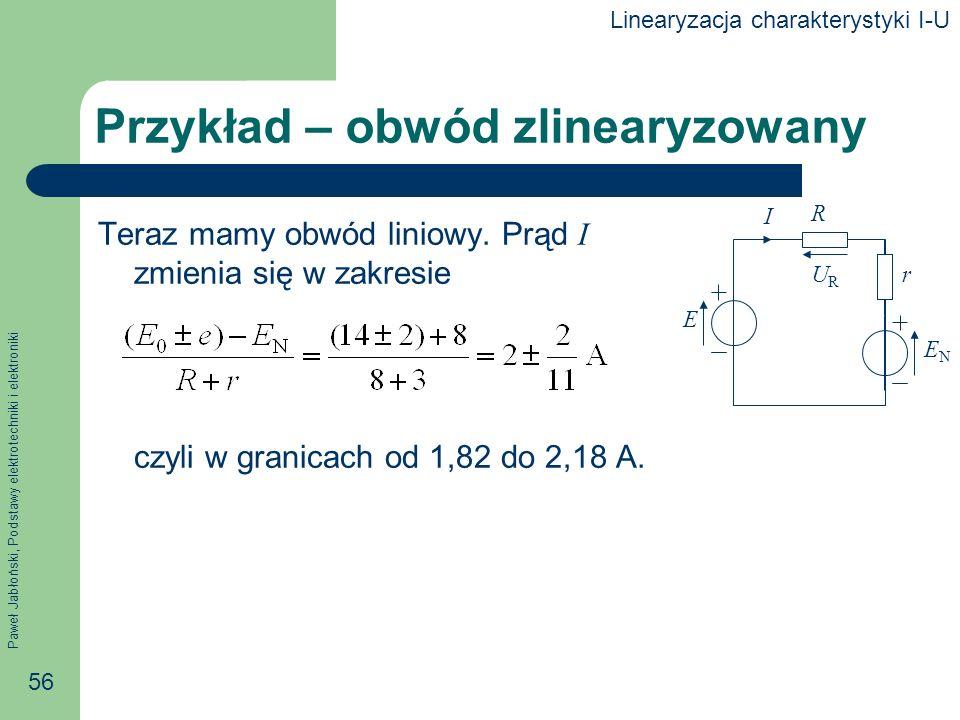 Paweł Jabłoński, Podstawy elektrotechniki i elektroniki 56 Przykład – obwód zlinearyzowany Teraz mamy obwód liniowy. Prąd I zmienia się w zakresie czy