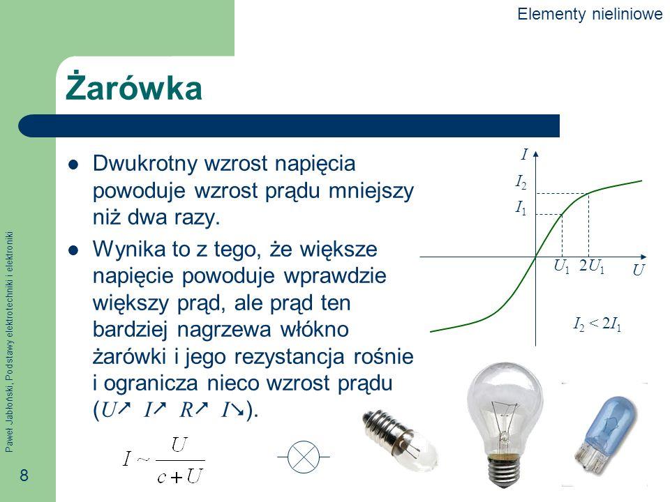 Paweł Jabłoński, Podstawy elektrotechniki i elektroniki 8 Żarówka Dwukrotny wzrost napięcia powoduje wzrost prądu mniejszy niż dwa razy. Wynika to z t