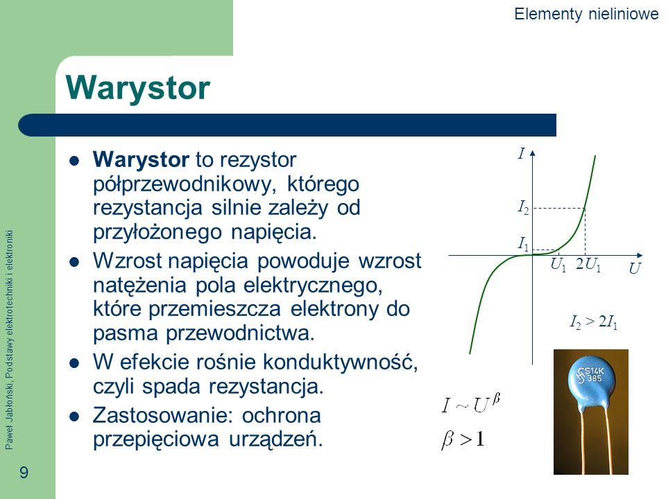 Paweł Jabłoński, Podstawy elektrotechniki i elektroniki 9 Warystor Warystor to rezystor półprzewodnikowy, którego rezystancja silnie zależy od przyłoż