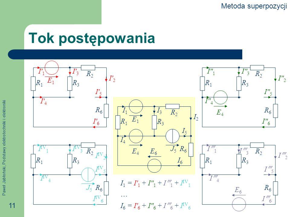 Paweł Jabłoński, Podstawy elektrotechniki i elektroniki 11 E1E1 E4E4 E6E6 J5J5 R1R1 R2R2 R3R3 R6R6 I1I1 I2I2 I3I3 I6I6 I5I5 I4I4 E6E6 R1R1 R2R2 R3R3 R