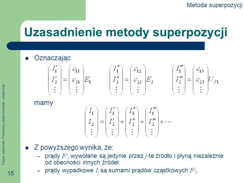 Paweł Jabłoński, Podstawy elektrotechniki i elektroniki 15 Uzasadnienie metody superpozycji Oznaczając mamy Z powyższego wynika, że: – prądy I (j) i w